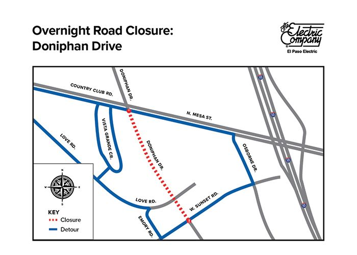 Overnight Road Closure: EPE to Conduct Work Along Doniphan Drive